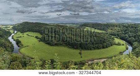 Beautiful Summer Landscape Of View From Symonds Yat Over River Wye In English And Welsh Countryside