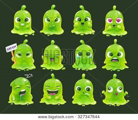 Comic Slimy Aliens. Funny Cartoon Green Slime Characters.