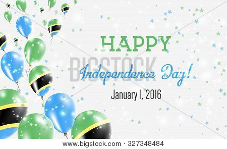 Tanzania, United Republic Of Independence Day Greeting Card. Flying Balloons In Tanzania, United Rep