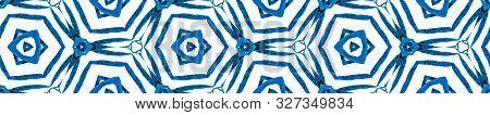 Blue Summer Seamless Border Scroll. Geometric Watercolor Frame. Alluring Seamless Pattern. Medallion