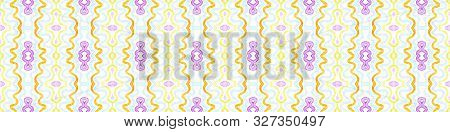 Colorful Seamless Border Scroll. Geometric Watercolor Frame. Alive Seamless Pattern. Medallion Repeated Tile. Popular Chevron Ribbon Ornament. poster