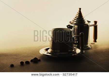 designer's coffee set on gradient background