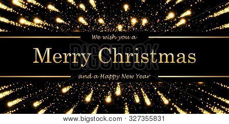 Marry Christmas And Happy New Year Card, Magic Firework, Black Background. Gold Text, Symbol Holiday