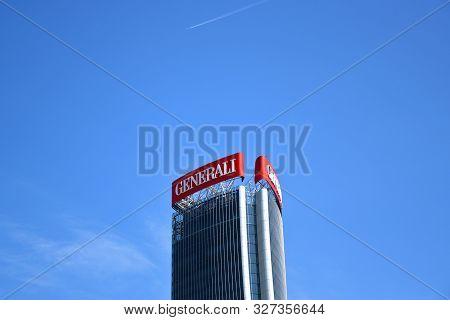 Milano, Italy, 14.07.2019: Skyscraper Zaha Hadid - Generali Tower The Twisted One, Lo Storto, Headqu