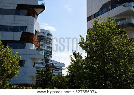 Milan, Italy - 07.14.2019: New And Modern Hadid Residential Complex In Citylife District Next To The