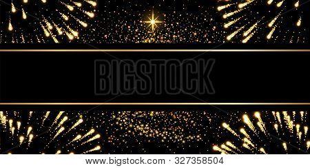 Christmas Tree, Firework, Black Background. Gold Christmas Tree Symbol Of Happy New Year, Merry Chri