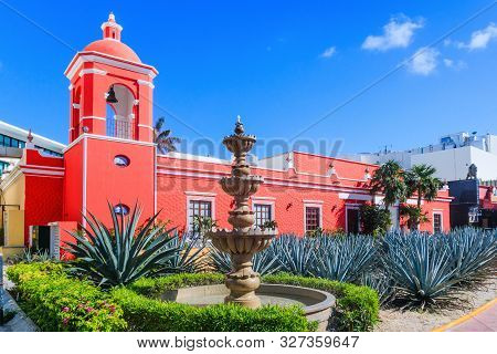 Cancun, Mexico. Colonial Building And Aloe Vera Plantation, Cancun, Mexico, Yucatan Peninsula.
