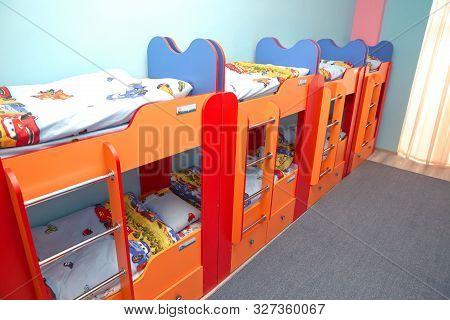 Many Beds In The Bedroom. Empty Room . Beds In Bedroom For Kids . Private Kindergarten Or Nursery Be