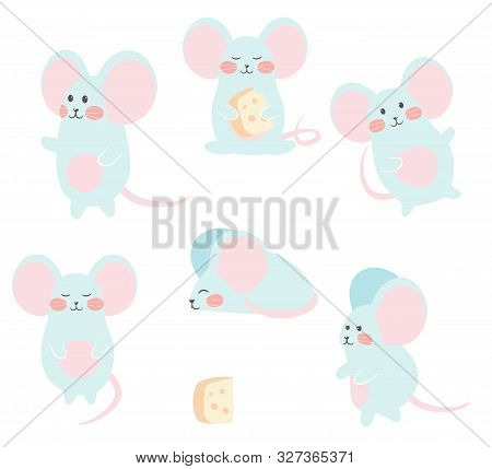 Set Of Funny Mouse With Cheese For Design. Cute Little Mice In Different Poses. Vector Illustration.