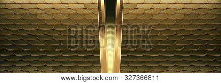 Art Deco Wall Made Of Golden Wings With Feather Texture And Metal Beams In The Center. 3d Render Art