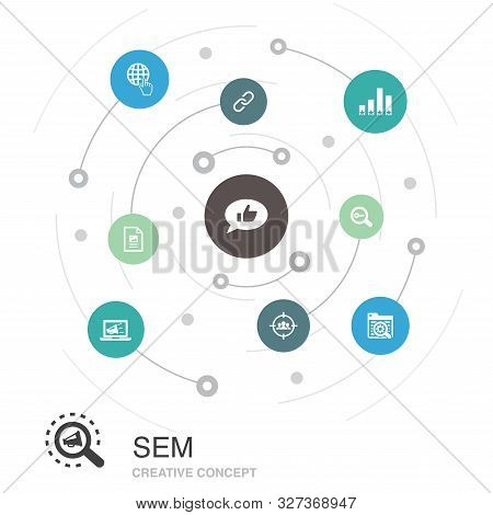Sem Colored Circle Concept With Simple Icons. Contains Such Elements As Search Engine, Digital Marke