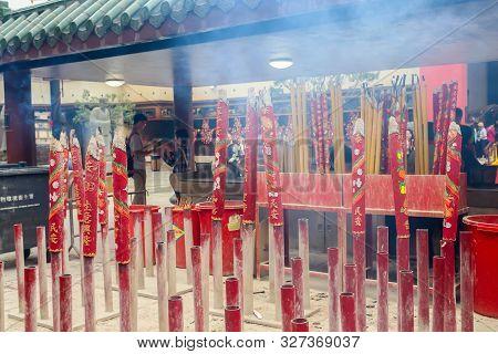 Hongkong, Hongkong - 31 March 2019 Big Red Incense Sticks In Che Kung Temple, Hong Kong On 31 March,