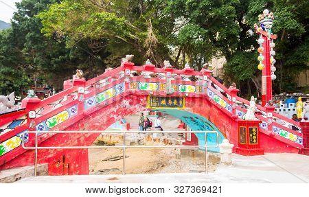 Hongkong, Hongkong Disneyland - 31 March 2019 Longevity Bridge At Tin Hau Temple, Repluse Bay, Hong