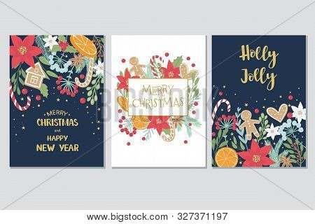 Christmas And New Year Gift Cards Collection With Hand Draw Lettering And Christmas Floral Elements.