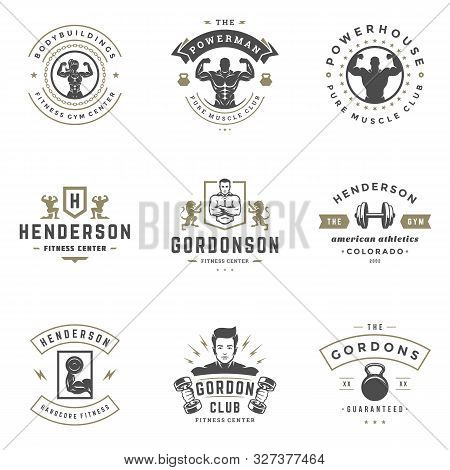 Fitness Center And Sport Gym Logos And Badges Design Set Vector Illustration.
