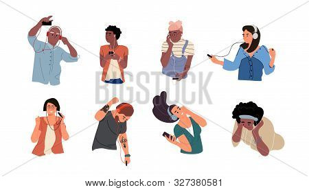 People Listen To Music. Dancing Cartoon Young Characters With Smartphones And Headphones. Vector Ill