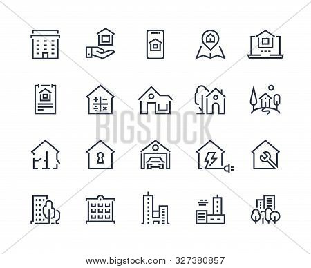 House Line Icons. Town Houses City Buildings And Constructions, Homepage Browser Interface Icons. Ve