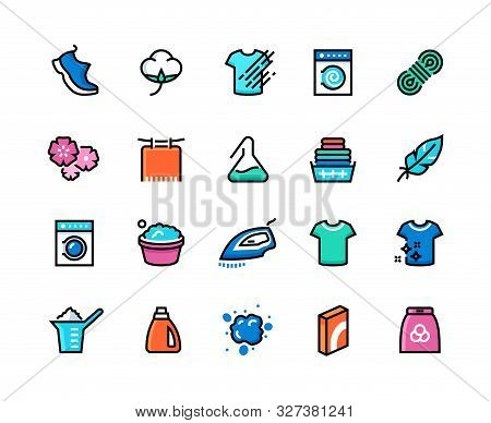Laundry Line Icons. Machine And Hand Wash, Sport Wool Synthetic Fabric Types, Clean And Dirty Cloth