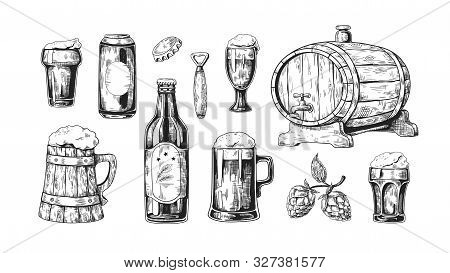 Hand Drawn Beer. Vintage Wooden And Glass Pub Mugs With Bear And Alcoholic Beverages With Bubble Foa
