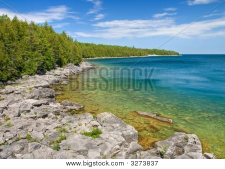 Rocky Shoreline Of Beautiful Georgian Bay