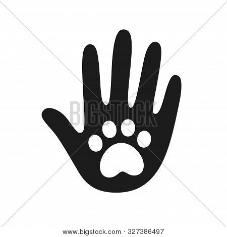 Human Hand Palm With Dog Or Cat Paw Print Symbol. Veterinary Pet Care, Shelter Adoption Or Animal Ch