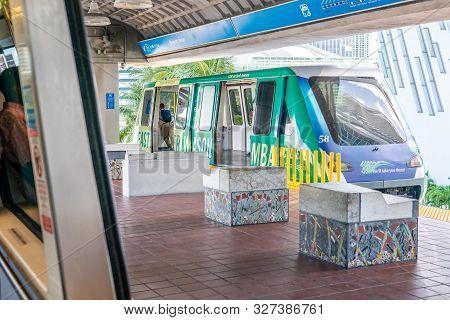 Miami, Usa - September 10, 2019: Metro Mover Train On The Station In Downtown Miami. Metro Mover Is