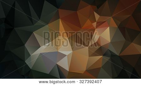 Vector Abstract Irregular Polygon Background - Triangle Low Poly Pattern - Black, Dark Brown, Ochre,