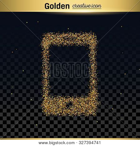 Gold Glitter Vector Icon Of Smart Phone Isolated On Background. Art Creative Concept Illustration Fo