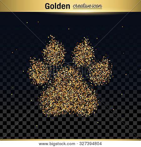 Gold Glitter Vector Icon Of Animal Footprint Isolated On Background. Art Creative Concept Illustrati