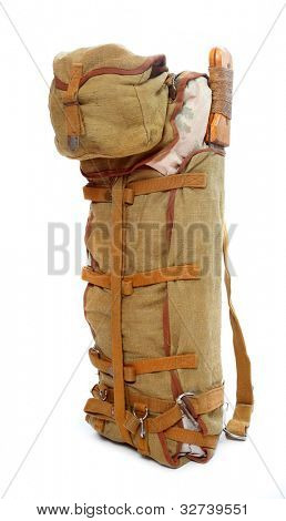 US army vintage back pack from second world war. Great baggage for stylish hikers.
