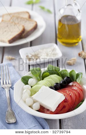 Fresh Salad And Bread