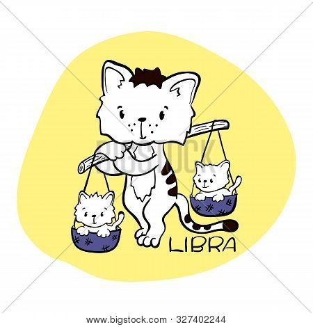 Libra Astrological Zodiac Sign With Cute Cat Character. Cat Zodiac Icon. Kitten Libra Sticker. Baby
