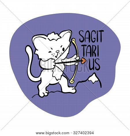 Sagittarius Astrological Zodiac Sign With Cute Cat Character. Cat Zodiac Icon. Kitten Sagittarius St
