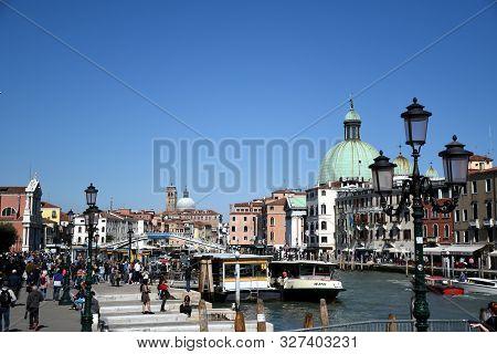 """Venice, Italy, 04.19.2019: San Simeone Piccolo Church And The Ponte Degli Scalzi, Scalzi Bridge, """"br"""