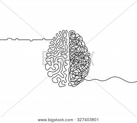 poster of Human brain creativity vs logic chaos and order a continuous line drawing concept, organised vs disorganised left and right brain hemispheres as a chaos theory metaphor, one line vector illustration