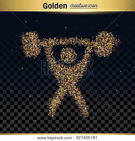Gold Glitter Vector Icon Of Heavy Athletics Isolated On Background. Art Creative Concept Illustratio