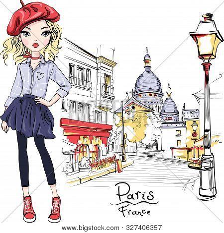 Vector Cute Blond Girl In Red Beret On Place Du Tertre Near Sacre-coeur, Quarter Montmartre In Paris