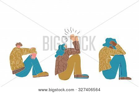 Tired Persons. Young People Sitting On The Floor With Foul Mood, Headache And Isolated On White Back