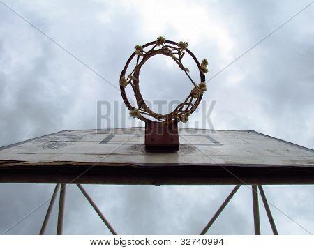 Basketball hoop under dramatic sky