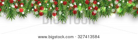 Christmas Bright Border With Christmas Tree Branches And Holly Berries On White Background. Happy Ne