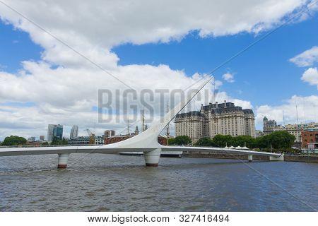 Modern Bridge From Puerto Madero, Buenos Aires, Argentina Landmark.  Buenos Aires Cityscape