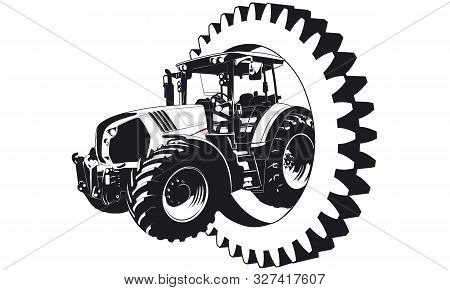 A Tractor Is Driving Trough A Gear Wheel