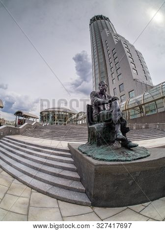 Moscow, Russia - July 15, 2019: Monument To Famous Russian Composer Dmitry Shostakovich In Front Of