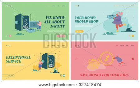 Set of Website Landing Pages of Deposit Box, Woman and Man with Moneybox, Safe Deposit, Banking, Cash Bag, Money Savings Concept, Fund Investment Web Page Banner. Cartoon Flat Vector Illustration poster