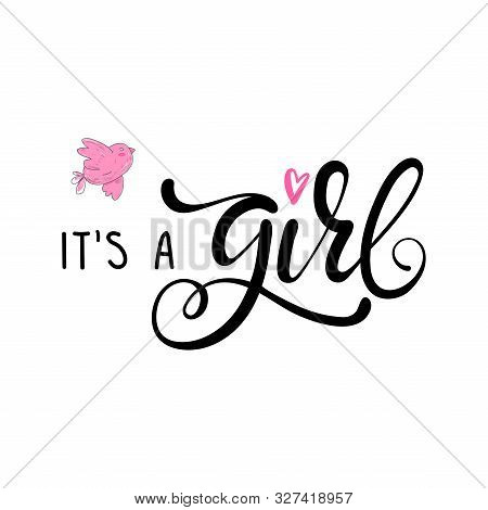 Its A Girl Lettering Baby Shower Invitation