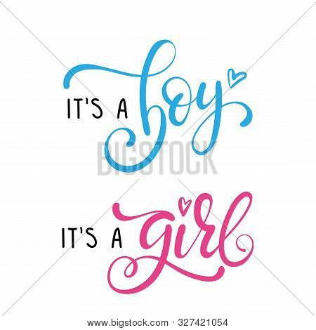 Its A Girl, Its A Boy Greeting Card. Baby Shower Posters Set.