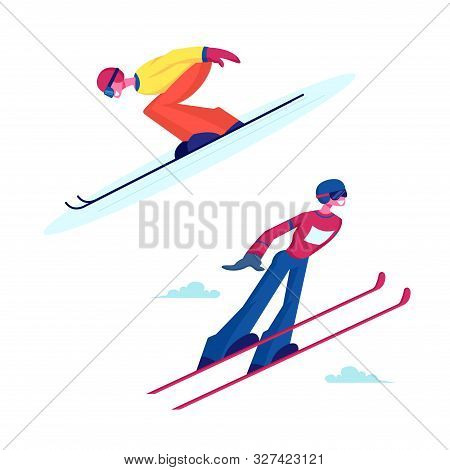 Male And Female Characters Ski Jumpers. Sportsman And Sportswoman Flying In Air During Extreme Jump