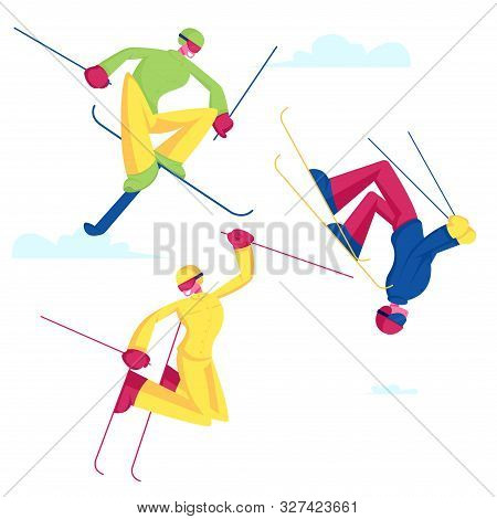 Sportsmen Freestyle Skiing Jump. Winter Sport Activity Combine Skiing And Acrobatics Stunts. Aeriali
