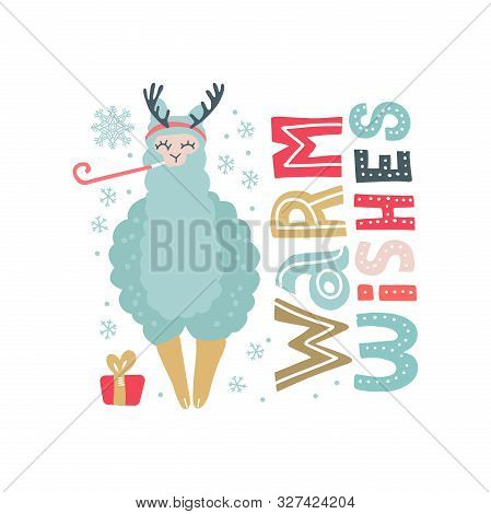 Hand Drawn Vector Illustration Of A Cute Funny Llama In Deer Antlers, With Snowflakes, Text Warm Wis