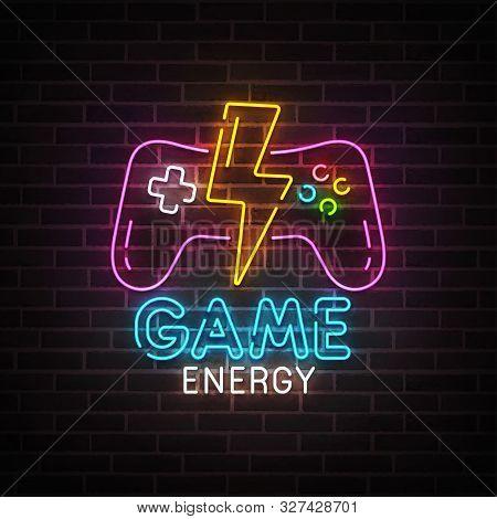 Game Neon Sign, Bright Signboard, Light Banner. Game Energy Logo Neon, Emblem. Vector Illustration